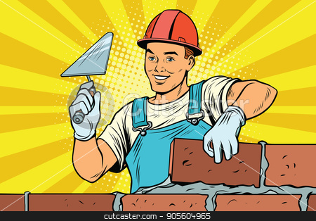 Builder brickwork Construction and repair stock vector clipart, Builder brickwork. Construction and repair. Pop art retro vector illustration by studiostoks