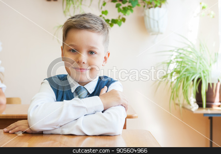 The first time in first class stock photo, The first time in first class: happy schoolboy at school background by olinchuk