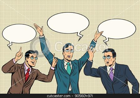Three speakers, gestures businessmen stock vector clipart, Three speakers, gestures businessmen. Pop art retro vector illustration by studiostoks