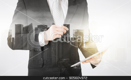 close up of businessman with tablet pc and glasses stock photo, people, business and technology concept - close up of businessman with tablet pc computer and glasses over city with double exposure by Syda Productions
