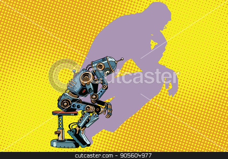 Robot thinker with the shadow of a man stock vector clipart, Robot thinker with the shadow of a man. Progress and humanity. Pop art retro vector illustration by studiostoks