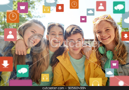 happy teenage friends outdoors stock photo, friendship, technology and people concept - group of happy teenage students or friends outdoors over virtual icons by Syda Productions
