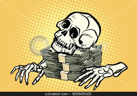 skeleton skull dollar money, wealth and greed stock vector clipart, skeleton skull dollar money, wealth and greed. Pop art retro vector illustration by studiostoks
