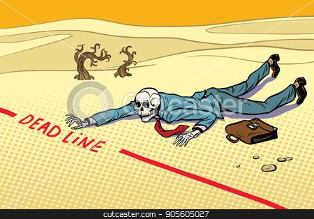 Dead businessman committed to deadline stock vector clipart, Dead businessman committed to deadline. Next to the dream. A dead traveler skeleton. The end. Pop art retro vector illustration by studiostoks