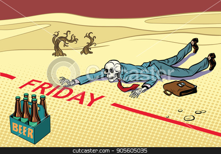 Thirst for beer. The man died before Friday stock vector clipart, Thirst for beer. The man died before Friday. Next to the dream. A dead traveler skeleton. The end. Pop art retro vector illustration by studiostoks