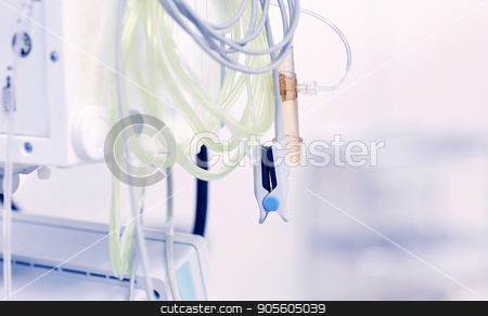 sensors at hospital ward or operating room stock photo, medicine, health care, electrocardiography, emergency and medical equipment concept - sensors at hospital ward or operating room by Syda Productions