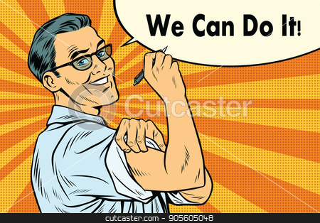 Engineer we can do it stock vector clipart, Engineer we can do it. Scientist accurate calculation. Pop art retro vector illustration by studiostoks