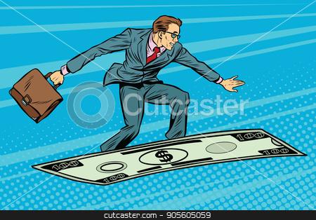 Businessman on flying money carpet plane stock vector clipart, Businessman on flying money carpet plane. Pop art retro vector illustration by studiostoks