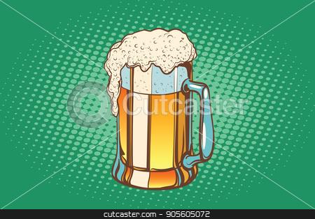 Mug of foamy beer stock vector clipart, Mug of foamy beer. Pop art retro vector illustration by studiostoks