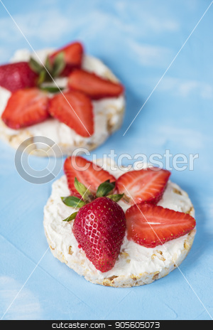 Strawberry sandwiches with mascarpone stock photo, Strawberry sandwiches with mascarpone on blue background by olinchuk
