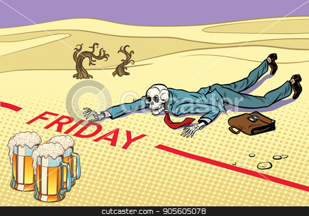 Mugs of beer, the man did not live until Friday stock vector clipart, Mugs of beer, the man did not live until Friday. Next to the dream. A dead traveler skeleton. The end. Pop art retro vector illustration by studiostoks
