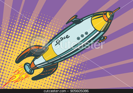 Retro space ship flies up stock vector clipart, Retro space ship flies up. Pop art vector illustration by studiostoks