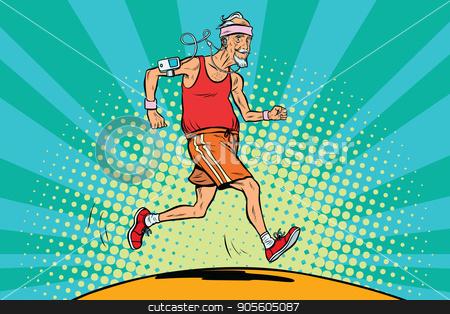 The old man runner, healthy lifestyle stock vector clipart, The old man runner, healthy lifestyle. Pop art retro vector illustration by studiostoks