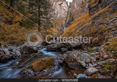 Waterfall on river Shinok stock photo, Waterfall on river Shinok in Altai territory, Siberia, Russia by olinchuk