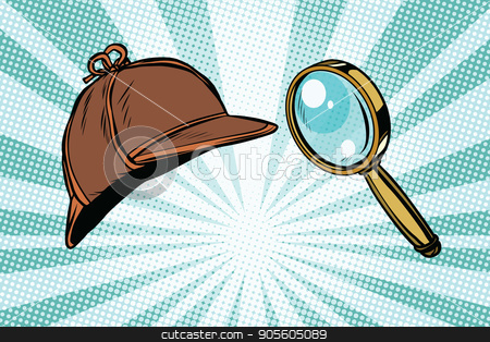Detective hat and magnifying glass stock vector clipart, Detective hat and magnifying glass. Pop art retro vector illustration by studiostoks