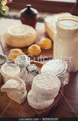 Set of different cheese stock photo, Set of different cheese: camembert, croton, mozzarella, smoked mozzarella and other by olinchuk