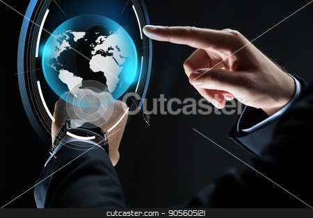close up of businessman hands with smartwatch stock photo, business, people, mass media and technology concept - close up of businessman hands with smartwatch and earth hologram over black background by Syda Productions