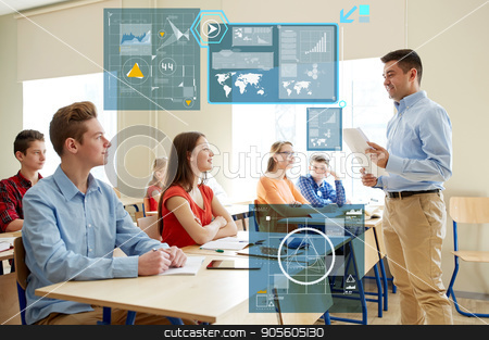 group of students and teacher with papers or tests stock photo, education, statistics and people concept - group of happy students and teacher with papers or tests at school over virtual screens with charts by Syda Productions