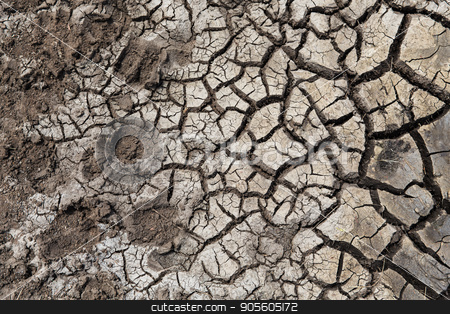 dry cracked ground surface stock photo, drought, ecology and environment concept - dry cracked ground surface by Syda Productions