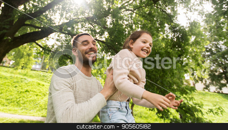 happy family having fun in summer park stock photo, family, parenthood, fatherhood and people concept - happy father and little girl having fun in summer park by Syda Productions