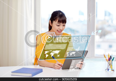 asian woman student with tablet pc at home stock photo, people, education, high school and technology concept - happy asian young woman student with tablet pc computer, book and notepad writing at home by Syda Productions
