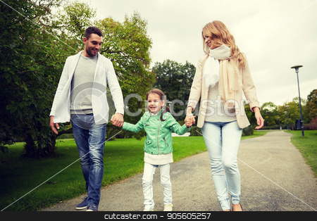 happy family walking in summer park stock photo, family, parenthood, adoption and people concept - happy mother, father and little girl walking in summer park by Syda Productions