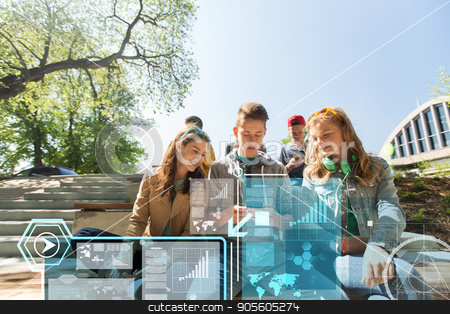 happy teenage friends with smartphones outdoors stock photo, technology, internet and people concept - happy teenage friends with smartphones outdoors over virtual screens by Syda Productions