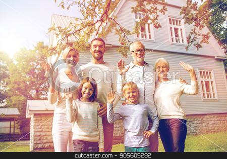 happy family in front of house outdoors stock photo, family, generation, gesture, home and people concept - happy family standing in front of house waving hands outdoors by Syda Productions