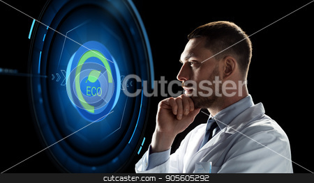 scientist looking at virtual projection stock photo, ecology, science and people concept - male doctor or scientist in white coat looking at virtual projection with eco icon over black background by Syda Productions