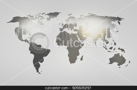 world map with city over white background stock photo, economics and global business concept - world map with city over white background by Syda Productions