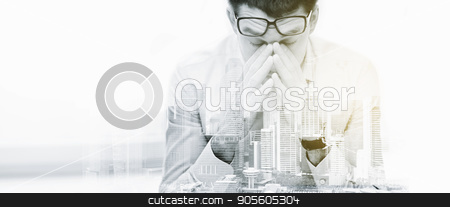 tired businessman with eyeglasses at office stock photo, business, people, deadline and stress concept - tired businessman with eyeglasses at office over city buildings and double exposure effect by Syda Productions