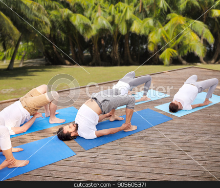 group of people making yoga exercises outdoors stock photo, fitness, sport, yoga and healthy lifestyle concept - group of people making bridge pose over natural background with palm trees  by Syda Productions