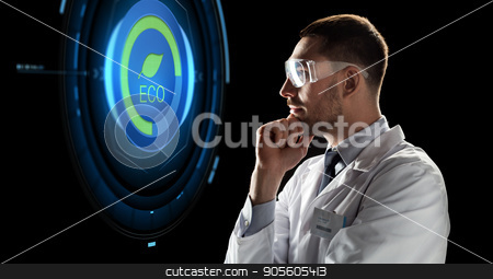 scientist in goggles looking at virtual projection stock photo, ecology, science, and people concept - male doctor or scientist in white coat and safety glasses looking at virtual projection with eco icon over black background by Syda Productions