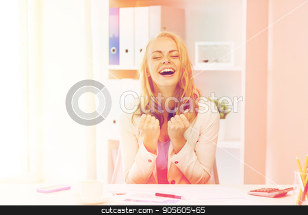happy businesswoman celebrating success at office stock photo, business, people and success concept - happy businesswoman celebrating triumph at office by Syda Productions