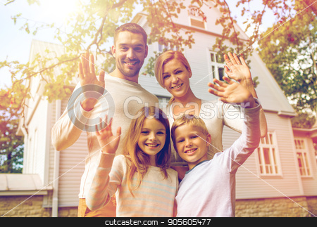 happy family in front of house outdoors stock photo, family, generation, home, gesture and people concept - happy family standing in front of house waving hands outdoors by Syda Productions