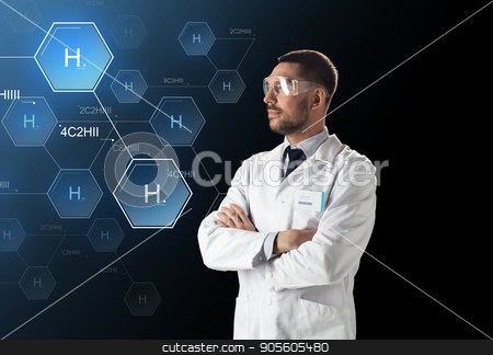 scientist in lab goggles chemical formula stock photo, science, future technology and chemistry concept - male doctor or scientist in white lab coat and safety glasses with virtual chemical formula projection over black background by Syda Productions