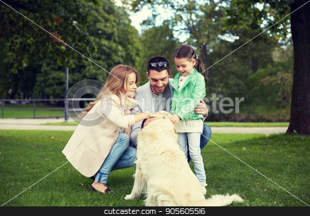 happy family with labrador retriever dog in park stock photo, family, pet, domestic animal and people concept - happy family with labrador retriever dog on walk in park by Syda Productions