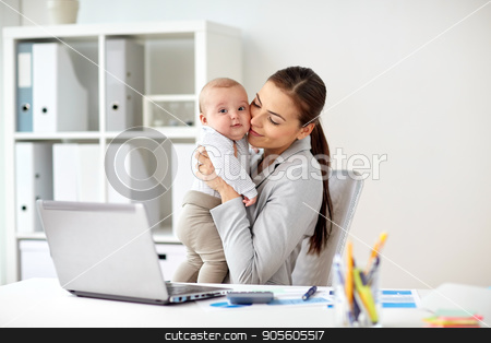 happy businesswoman with baby and laptop at office stock photo, business, motherhood, multi-tasking, family and people concept - happy smiling businesswoman with baby and laptop computer working at office by Syda Productions
