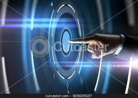 male hand pointing finger to virtual projection stock photo, business, people and technology concept - close up of businessman hand pointing finger to virtual projection over black background by Syda Productions