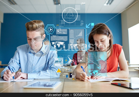 group of students with books writing school test stock photo, education, statistics and people concept - group of students with books writing school test over virtual screens with charts by Syda Productions