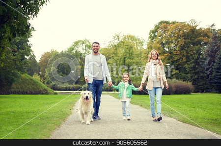 happy family with labrador retriever dog in park stock photo, family, pet, domestic animal and people concept - happy family with labrador retriever dog walking in summer park by Syda Productions
