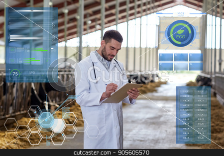 veterinarian with cows in cowshed on dairy farm stock photo, agriculture industry, people and animal husbandry concept - veterinarian or doctor with clipboard and herd of cows in cowshed on dairy farm by Syda Productions