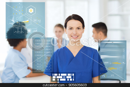 happy smiling doctor or nurse at hospital stock photo, medicine, healthcare, technology and people concept - happy female doctor or nurse over group of medics meeting at hospital by Syda Productions