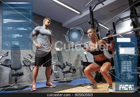 man and woman with bar flexing muscles in gym stock photo, sport, fitness, bodybuilding, exercising and people concept - man and woman with bar flexing muscles in gym over virtual charts by Syda Productions