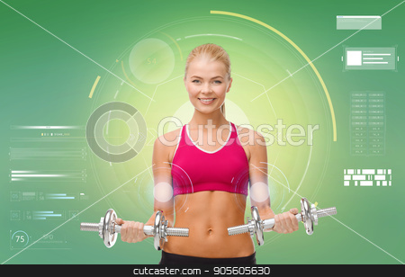 happy sporty woman with dumbbells flexing biceps stock photo, sport, fitness, exercising, technology and people concept - happy young sporty woman with dumbbells flexing biceps over green background by Syda Productions