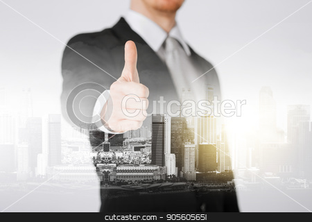 businessman showing thumbs up stock photo, business, gesture and people concept - close up of businessman showing thumbs up over city with double exposure by Syda Productions