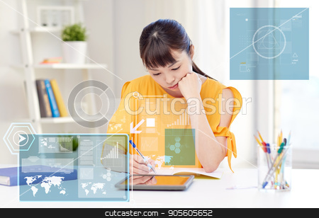 bored asian woman student with tablet pc at home stock photo, people, education, high school and technology concept - bored asian young woman student with tablet pc computer, book and notepad writing at home by Syda Productions