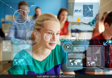 teenage girl with students at school lesson stock photo, education, learning and people concept - teenage girl with group of students at school lesson by Syda Productions