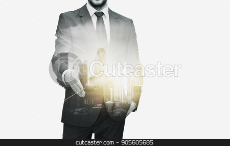 businessman with open hand ready for handshake stock photo, business, gesture, partnership, cooperation and people concept - businessman with open hand ready for handshake over city buildings and double exposure effect by Syda Productions