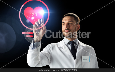doctor or scientist with heart rate projection stock photo, medicine, cardiology and healthcare concept - doctor or scientist in white coat with heart rate projection over black background by Syda Productions